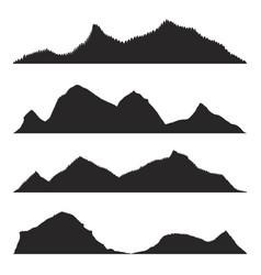 silhouette mountain peaks vector image