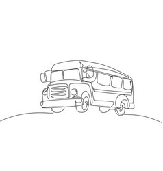 single one line drawing old classic school bus vector image