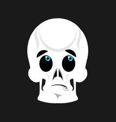 skull surprised emoji skeleton head astonished vector image