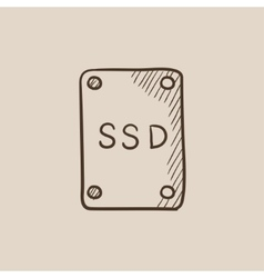 Solid state drive sketch icon vector