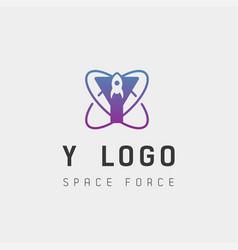 Space force logo design y initial galaxy rocket vector