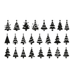 stylized black icons christmas trees vector image