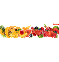 Sweet tropical fruits and mixed berries splash of vector