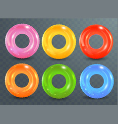 Swim rings set on transparent background vector