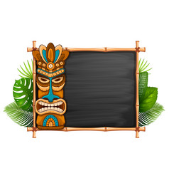 tiki mask and bamboo frame vector image