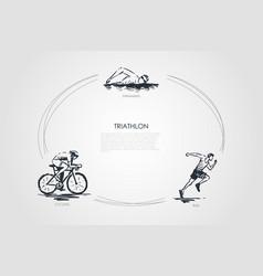 Triathlon - swimming cycling run concept vector