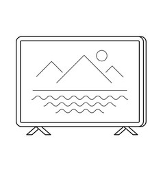 Tv set line art simple gadget icon vector