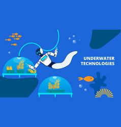 Underwater technology flat banner template vector