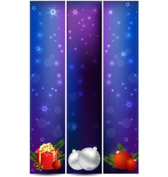 Vertical christmas banners with decoration vector