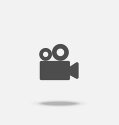 video cinema camera flat design icon with shadow vector image