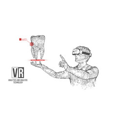 vr wireframe headset man with tooth banner vector image
