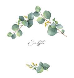 Watercolor wreath with green eucalyptus vector
