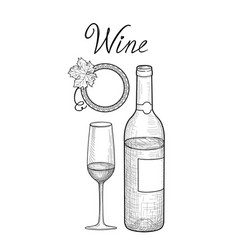 wine set wine glass bottle grape branch vector image