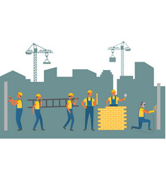 workers in town construction and building zone vector image