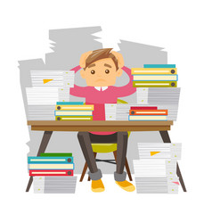 Young despair office worker with heaps of papers vector