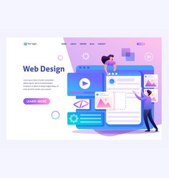 Young people are engaged in web design website pag vector