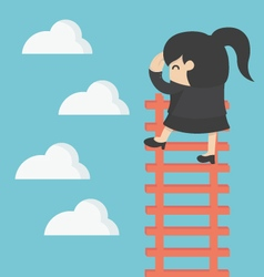 business woman on ladder Looking for success vector image