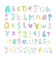 Funny font Letters numbers and flowers vector image vector image