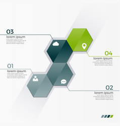 infographic template with 4 hexagons vector image vector image