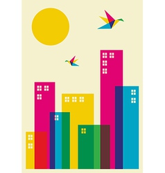 Spring time city vector image vector image