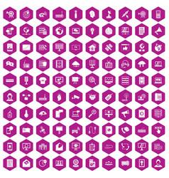 100 telecommunication icons hexagon violet vector