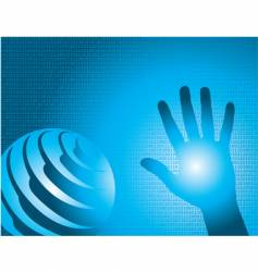 binary hand globe vector image