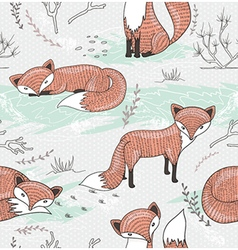 Cute seamless pattern with little foxes vector image vector image