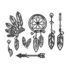 native american indians traditional culture tools vector image