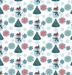 pattern snowman seamless vector image