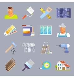 Renovation Flat Icons Set vector image vector image