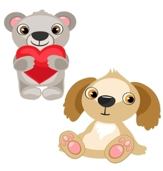 Teddy bear with heart and dog stuffed baby toy vector image
