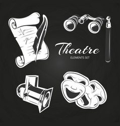 theatre symbols set on chalkboard vector image