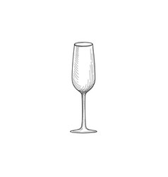 wine glass engraving of wineglass utensils sketch vector image vector image