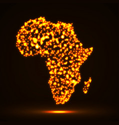 abstract map of africa with glowing particles vector image