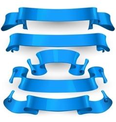 Blue Glossy ribbons set vector image vector image