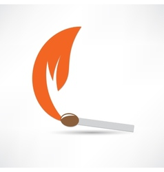 Burning match colored vector image