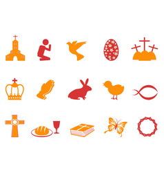 orange and red color easter day icons set vector image vector image