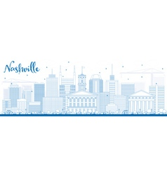 Outline Nashville Skyline with Blue Buildings vector image vector image