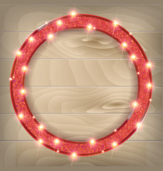 round red frame on a wooden background vector image