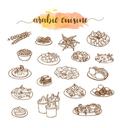 Arabic cuisine traditional food set vector