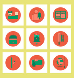 Collection of back to school items in flat style vector