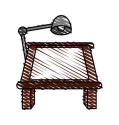 color crayon stripe cartoon drawing table with vector image