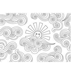 contour image of smiling sun and clouds doodle vector image vector image