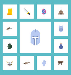 flat icons viking helmet gun dynamite and other vector image vector image