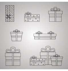 Gift Boxes Line Presents vector image vector image
