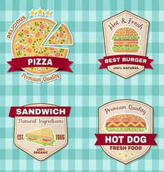 Set of vintage fast food badges banners and logo vector image vector image