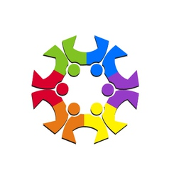 Teamwork social people logo vector image