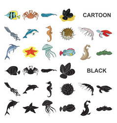 A variety of marine animals cartoon icons in set vector