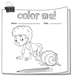 A worksheet showing a boy and a snail vector image