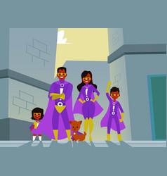 afro american family dark skinned superheroes vector image